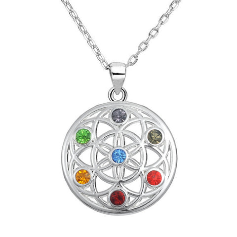 7 Chakra Pendant Flower of Life For Women