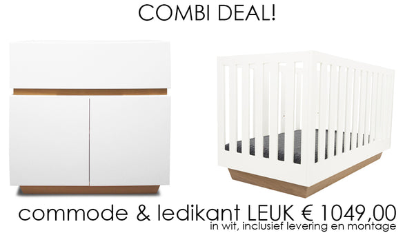 Combi deal! Leuk ledikant + commode in wit