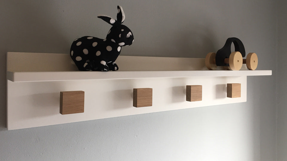 SALE! LEUK wandplank in wit - naturel eiken knop