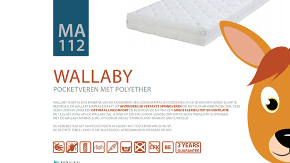 Kindermatras Wallaby 90x200 cm MA112-90