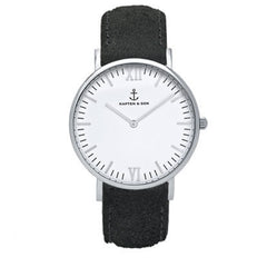 KAPTEN & SON CAMPINA SILVER WHITE BLACK VINTAGE 36MM