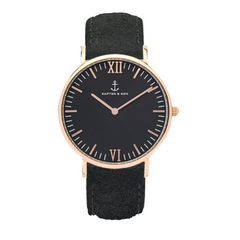 KAPTEN & SON CAMPUS BLACK ALL BLACK VINTAGE 40MM