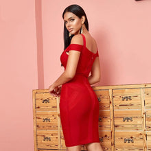 Load image into Gallery viewer, Off Shoulder Bandage Red Dress - Fashion Netclub