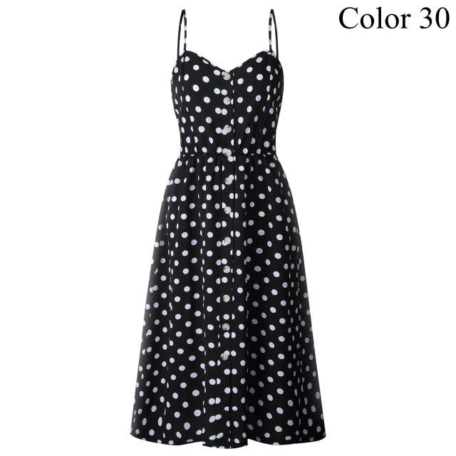 Polka Dots Cotton Midi Dress - Fashion Netclub
