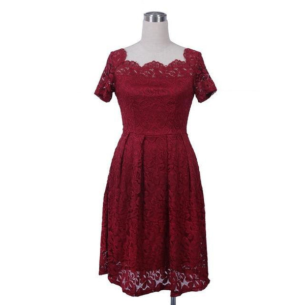 Slash Neck Lace Design Dress - Fashion Netclub