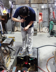 hand blowing edo glass