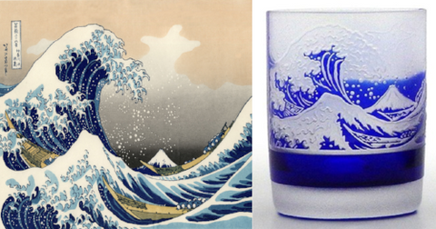 great wave off kanagawa old fashioned glass