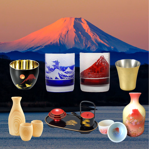 sake cup collection  mount mt fuji arita edo kiriko glass hinoki shi-moa urushi tokkuri tosoki yamaco Myfav Japan Shop