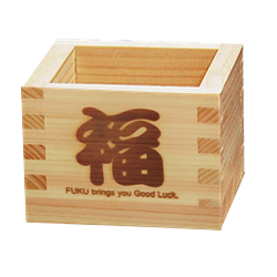 Good Luck - HINOKI MASU Cubic Wooden Sake Cup [Yamaco] - JAPANESE GIFTS