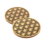 Hinoki Coaster Carving Japanese Traditional Patterns 2pc. Pair - JAPANESE GIFTS