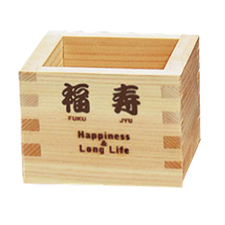 HAPPINESS & LONG LIFE - HINOKI MASU Cubic Wooden Sake Cup [Yamaco] - JAPANESE GIFTS