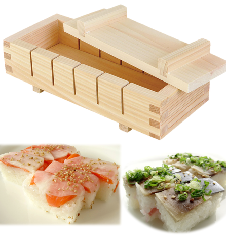 SUSHI Press Mold Easy Cut Guide 6 pc. Pro Tool HINOKI Cypress Wood OSHIZUSHI - JAPANESE GIFTS