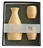 [Takumi-Waza] Wooden Sake Bottle & Cup Set Hinoki - JAPANESE GIFTS