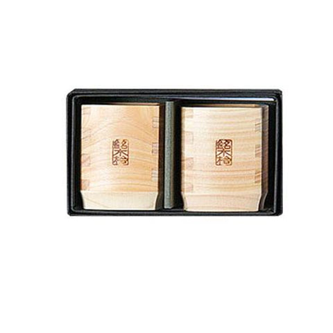 Hinoki Wood Square Sake Cup 2 pc. Set [Yamaco] - JAPANESE GIFTS