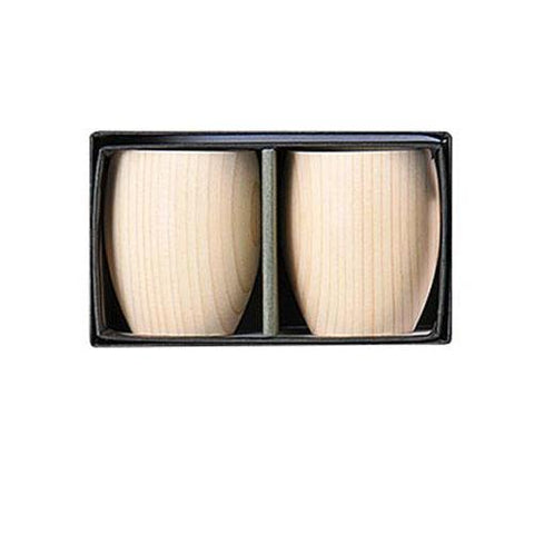Hinoki Wood Sake Cup GUIMONI 2 pc. Set [Yamaco] - JAPANESE GIFTS