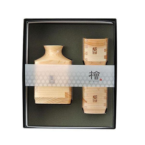 Hinoki Wood Square Sake Bottle & Cup Set [Yamaco] - JAPANESE GIFTS