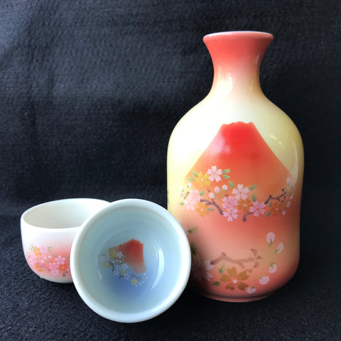 ARITA Fuji Sake Bottle Cup Tripod Pair Set YAMASE Pottery - JAPANESE GIFTS