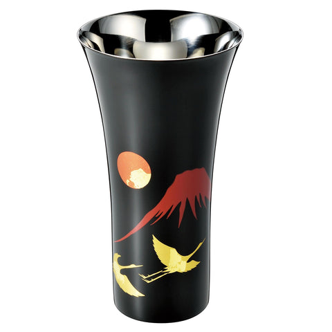 Japanese Lacquer & Stainless Tall Cup 380ml  [ASAHI Shi-Moa RED FUJI & CRANE] - JAPANESE GIFTS