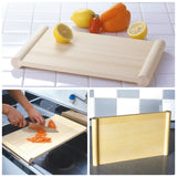 Kitchen Cutting Board Japanese HINOKI Cypress Wooden Both Sides Use Pier Stand