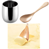 [Ice Cream July] Stainless Steel Cup Double-Walled  Copper Spoon Thermal Conduction - JAPANESE GIFTS