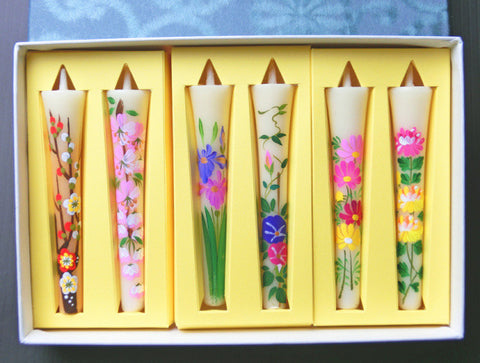 Four season's flower candles 6 pieces set - JAPANESE GIFTS
