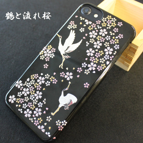 [Cranes & Cherry] Completed iPhone Case Japanese Traditional Pattern - JAPANESE GIFTS