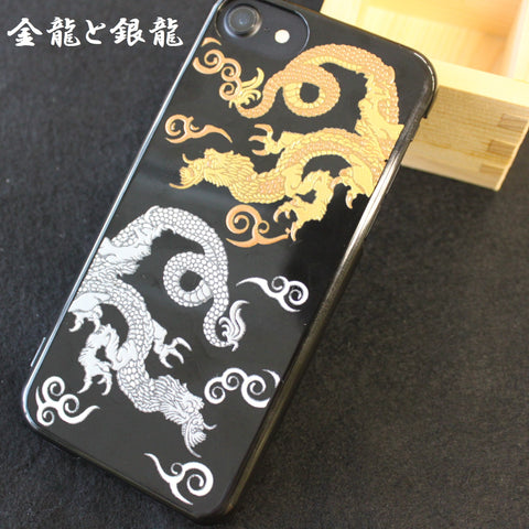 [Gold & Silver Dragon] Completed iPhone Case Japanese Traditional Pattern - JAPANESE GIFTS