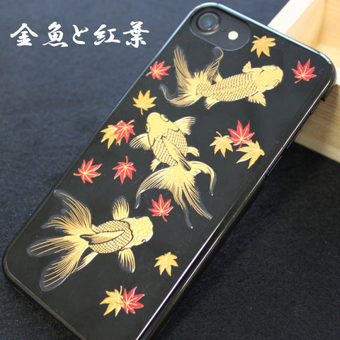 [Goldfish & Maple] Completed  iPhone Case Japanese Traditional Pattern - JAPANESE GIFTS