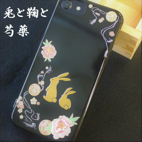 [Rabbit & Peony] Completed iPhone Case Japanese Traditional Pattern - JAPANESE GIFTS