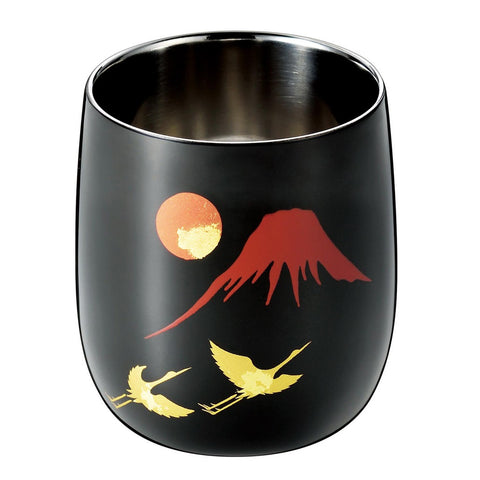 Japanese Lacquer & Stainless Round Cup 250ml  [ASAHI Shi-Moa RED FUJI & CRANE] - JAPANESE GIFTS