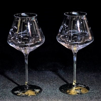 Glass Japan Pair Wine Classic Japanese Urushi Gold foil patterned - JAPANESE GIFTS