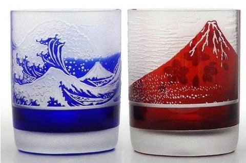 Edo Cut Glass Old Fashioned Mount Fuji HOKUSAI KATSUSHIKA 220ml - JAPANESE GIFTS