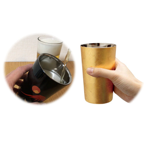 KANAZAWA Japanse gold leaf coating cup stainless steel double-walled drinkware