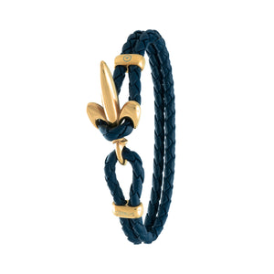 FLEUR DE LIS BRACELET BY COERLYS - Royal Blue Leather with Gold Lock