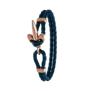 FLEUR DE LIS BRACELET BY COERLYS - Royal Blue Leather with Rosegold Lock