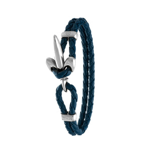 FLEUR DE LIS BRACELET BY COERLYS - Royal Blue Leather with Silver Lock
