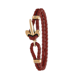 FLEUR DE LIS BRACELET BY COERLYS - Bordeaux Leather with Gold Lock