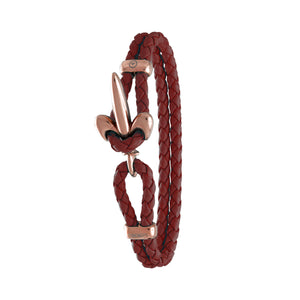 FLEUR DE LIS BRACELET BY COERLYS - Bordeaux Leather with Rosegold Lock