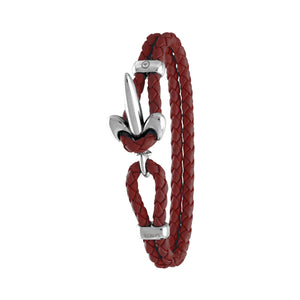 FLEUR DE LIS BRACELET BY COERLYS - Bordeaux Leather with Silver Lock