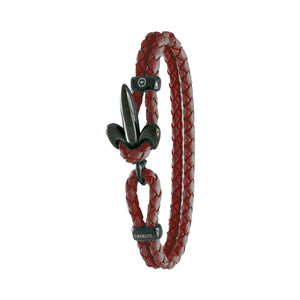 FLEUR DE LIS BRACELET BY COERLYS - Bordeaux Leather with Black Lock