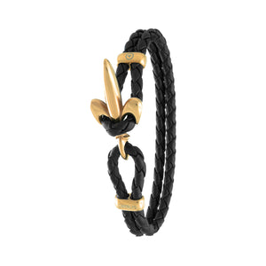 FLEUR DE LIS BRACELET BY COERLYS - Black Leather with Gold Lock