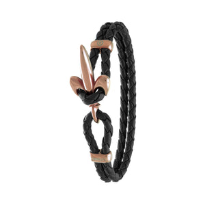 FLEUR DE LIS BRACELET BY COERLYS - Black Leather with Rosegold Lock