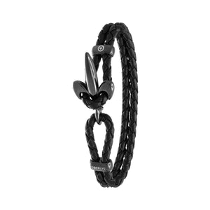 FLEUR DE LIS BRACELET BY COERLYS - Black Leather with Black Lock