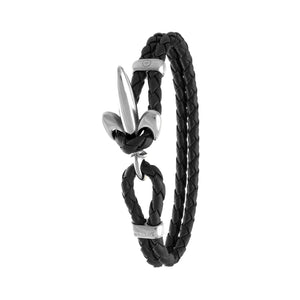 FLEUR DE LIS BRACELET BY COERLYS - Black Leather with Silver Lock
