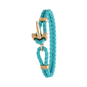 FLEUR DE LIS BRACELET BY COERLYS - Turquoise Leather with Gold Lock