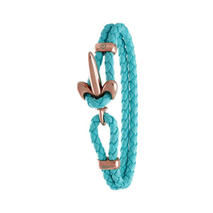 FLEUR DE LIS BRACELET BY COERLYS - Turquoise Leather with Rosegold Lock