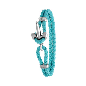 FLEUR DE LIS BRACELET BY COERLYS - Turquoise Leather with Silver Lock