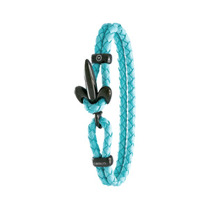 FLEUR DE LIS BRACELET BY COERLYS - Turquoise Leather with Black Lock