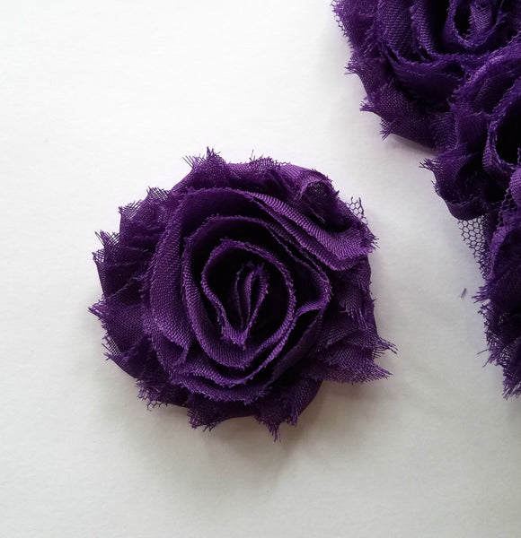 "Plum Shabby Flowers. Approx. 2.5"". 10 Pieces."