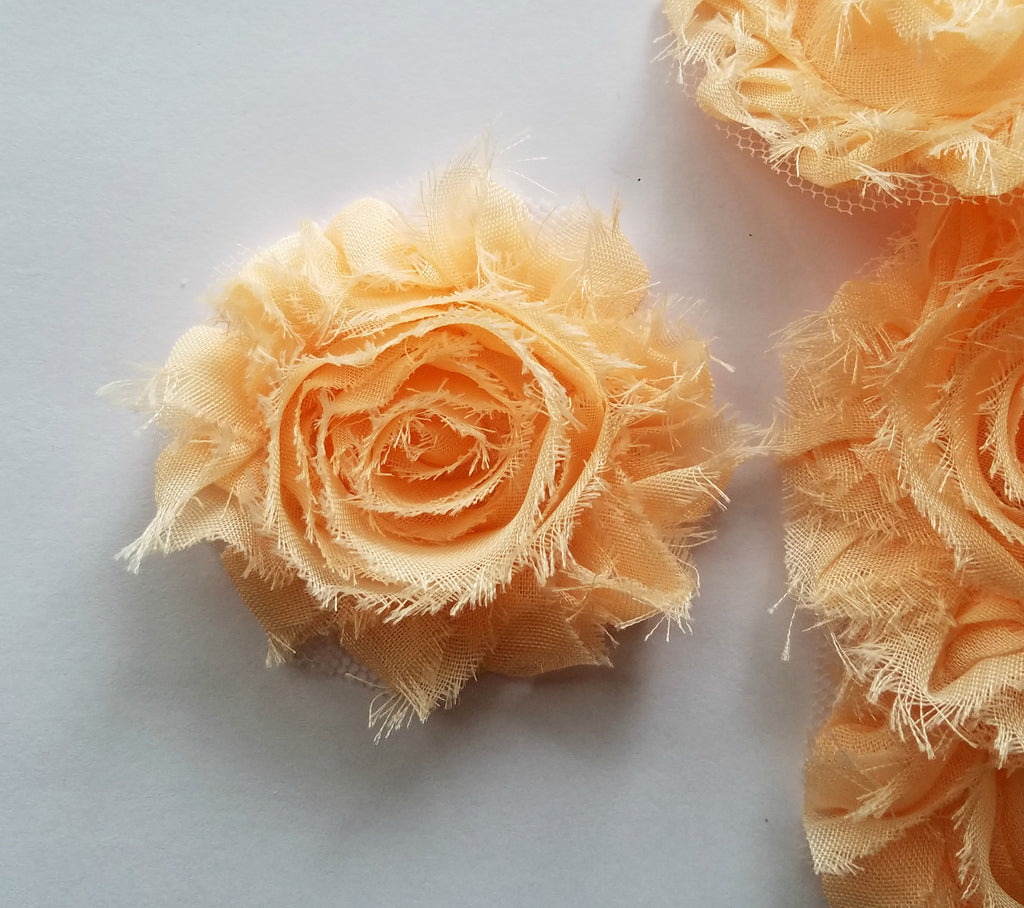 "Peach Shabby Flowers. Approx. 2.5"". 10 Pieces."